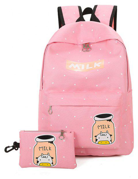 Cartoon Printing Campus Backpack Korean Fresh Wind All-match College Female Students - PINK