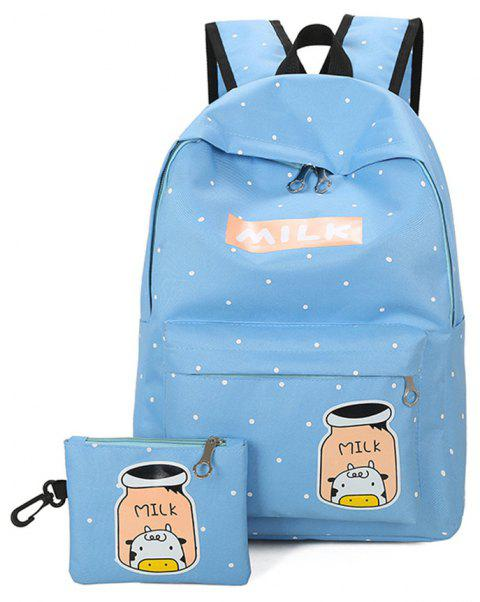 Cartoon Printing Campus Backpack Korean Fresh Wind All-match College Female Students - BLUE