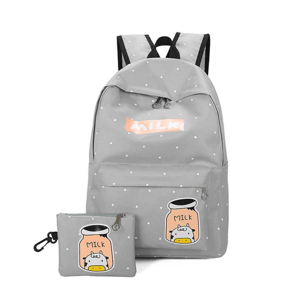 Cartoon Printing Campus Backpack Korean Fresh Wind All-match College Female Students - GRAY