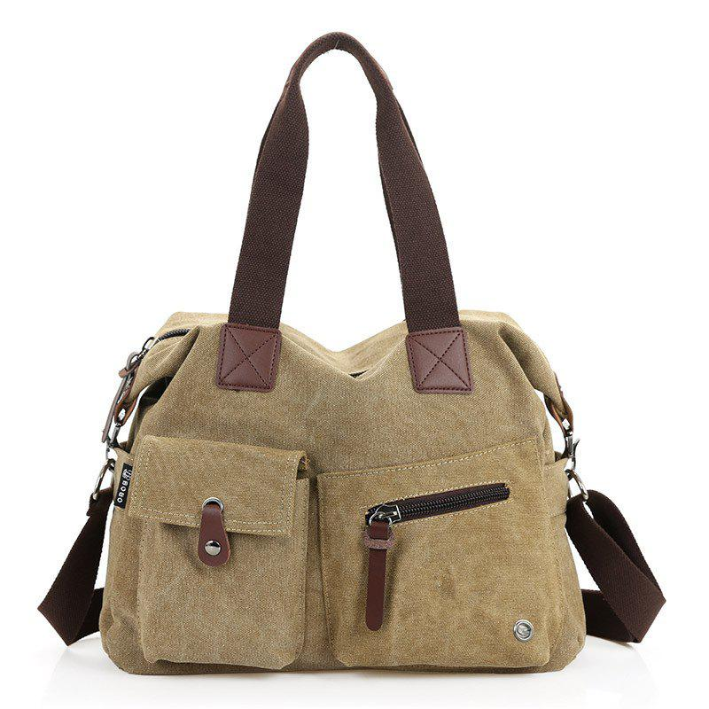 2018 New Fashion Men's Canvas Handbag - KHAKI