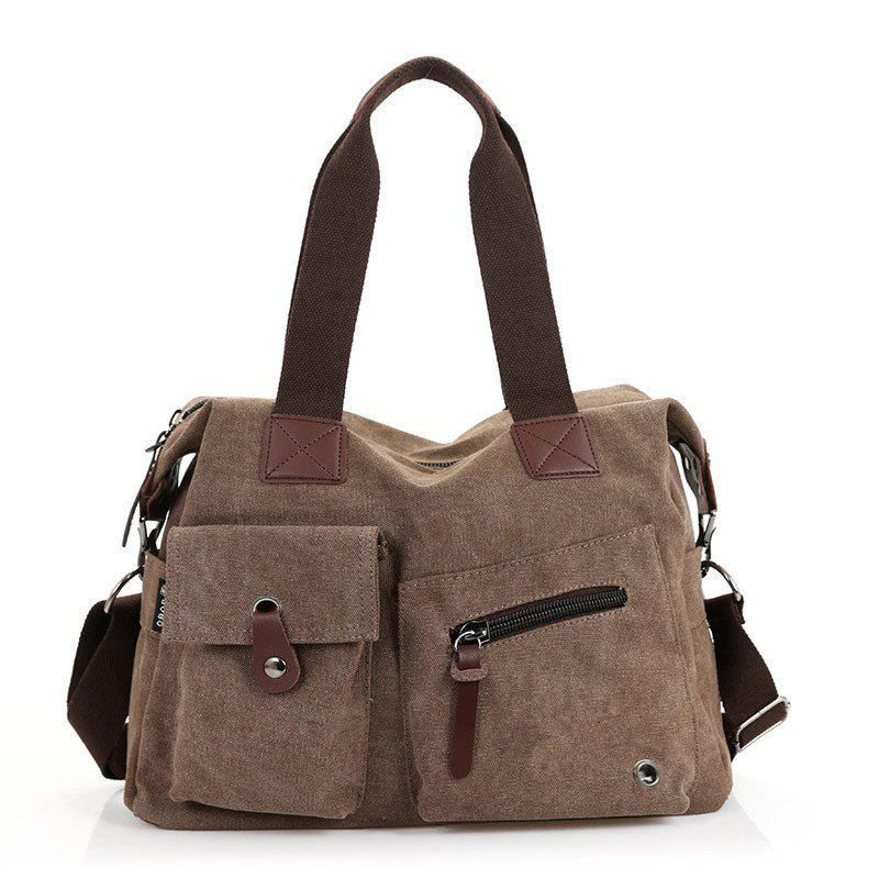 2018 New Fashion Men's Canvas Handbag - BROWN