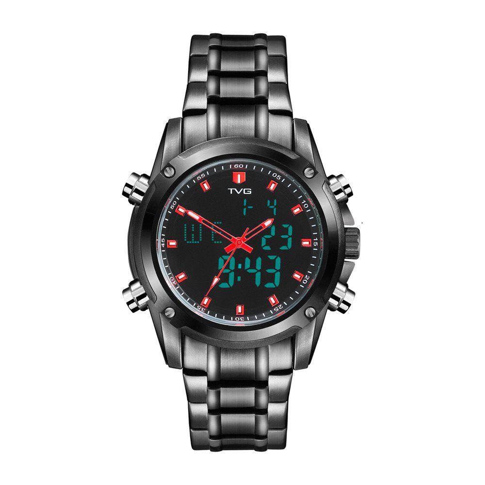 TVG KM-526 1324 Fashion Leisure Steel with Cool Outdoor Sports Electronic Quartz Watch - BLACK