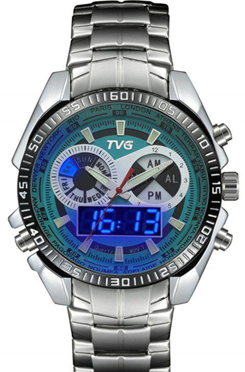 TVG 568 3746 Leisure Fashion Night Light Shows The Cool Outdoor Sports Electronic Quartz Watch - GREEN