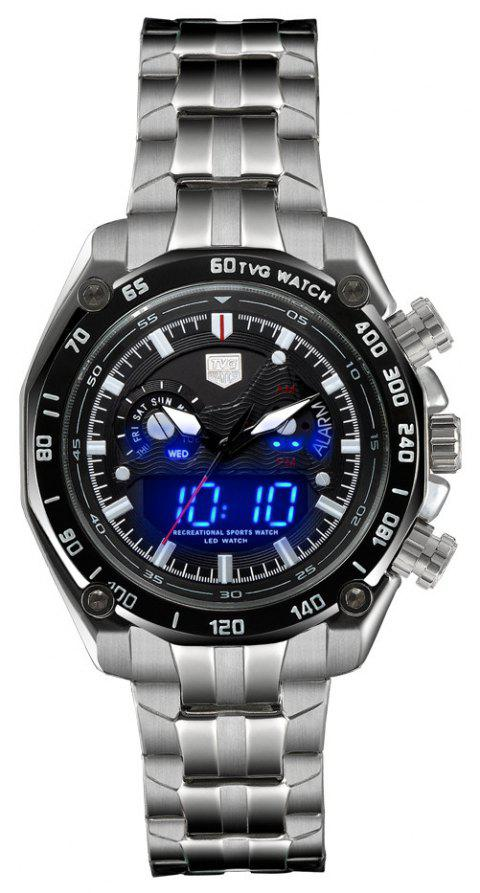 TVG Km-3168 1323 Fashionable Outdoor Sports Night Light Shows The Steel Band with Cool Electronic Quartz Watch - BLACK