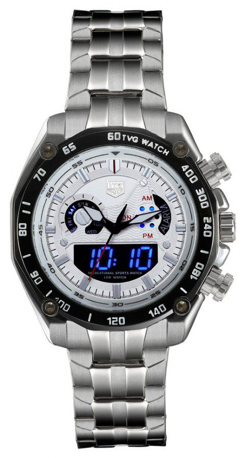 TVG Km-3168 1323 Fashionable Outdoor Sports Night Light Shows The Steel Band with Cool Electronic Quartz Watch - WHITE