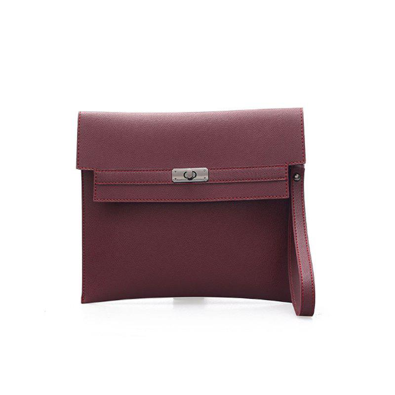 Fashion Pure Color Sports Purse Joker Hand Bag - WINE RED