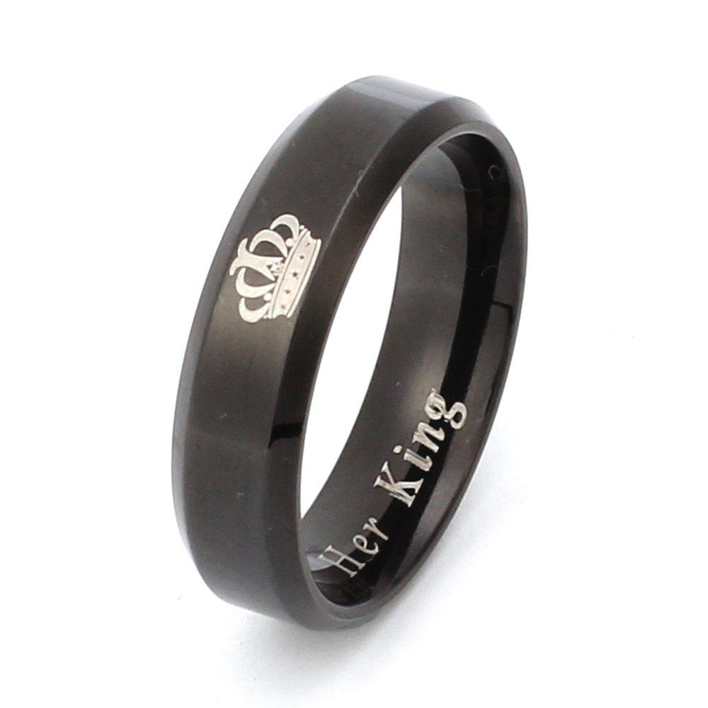 Classic Crown Titanium Ring Couple Models Stainless Steel Jewelry - BLACK 12