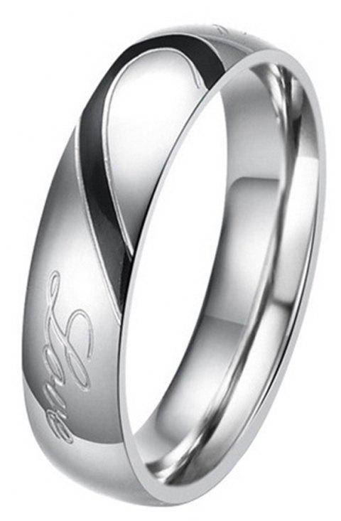 New Jewelry Heart-shaped Puzzle Couple Titanium Wedding Ring Valentine's Day Gift - BLACK / SILVER 12