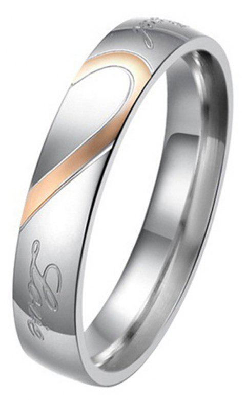 New Jewelry Heart-shaped Puzzle Couple Titanium Wedding Ring Valentine's Day Gift - PINK / SILVER 8