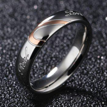 New Jewelry Heart-shaped Puzzle Couple Titanium Wedding Ring Valentine's Day Gift - PINK / SILVER 7