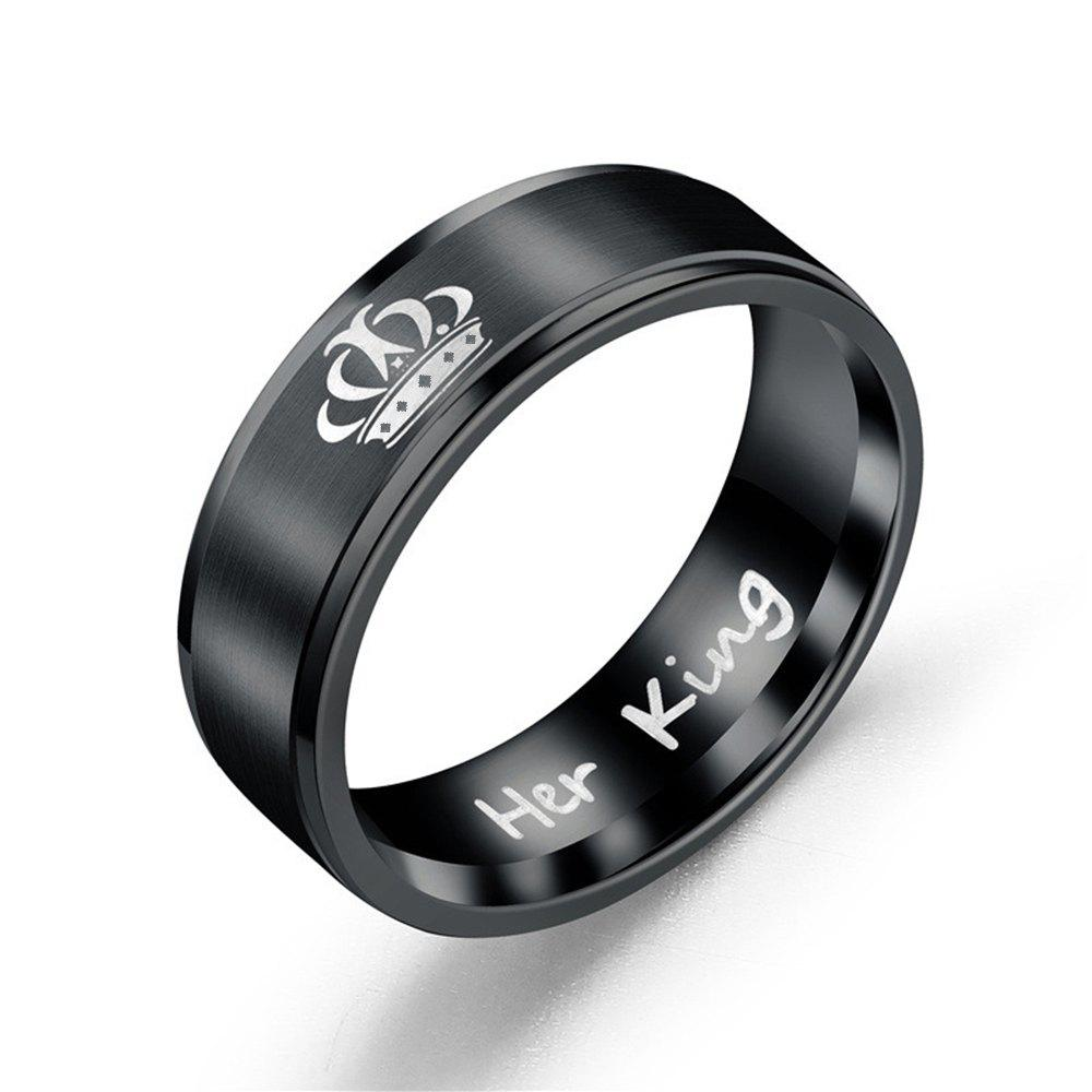 Couple Titanium Steel Ring Fashion Romantic Wild Accessories - BLACK 10