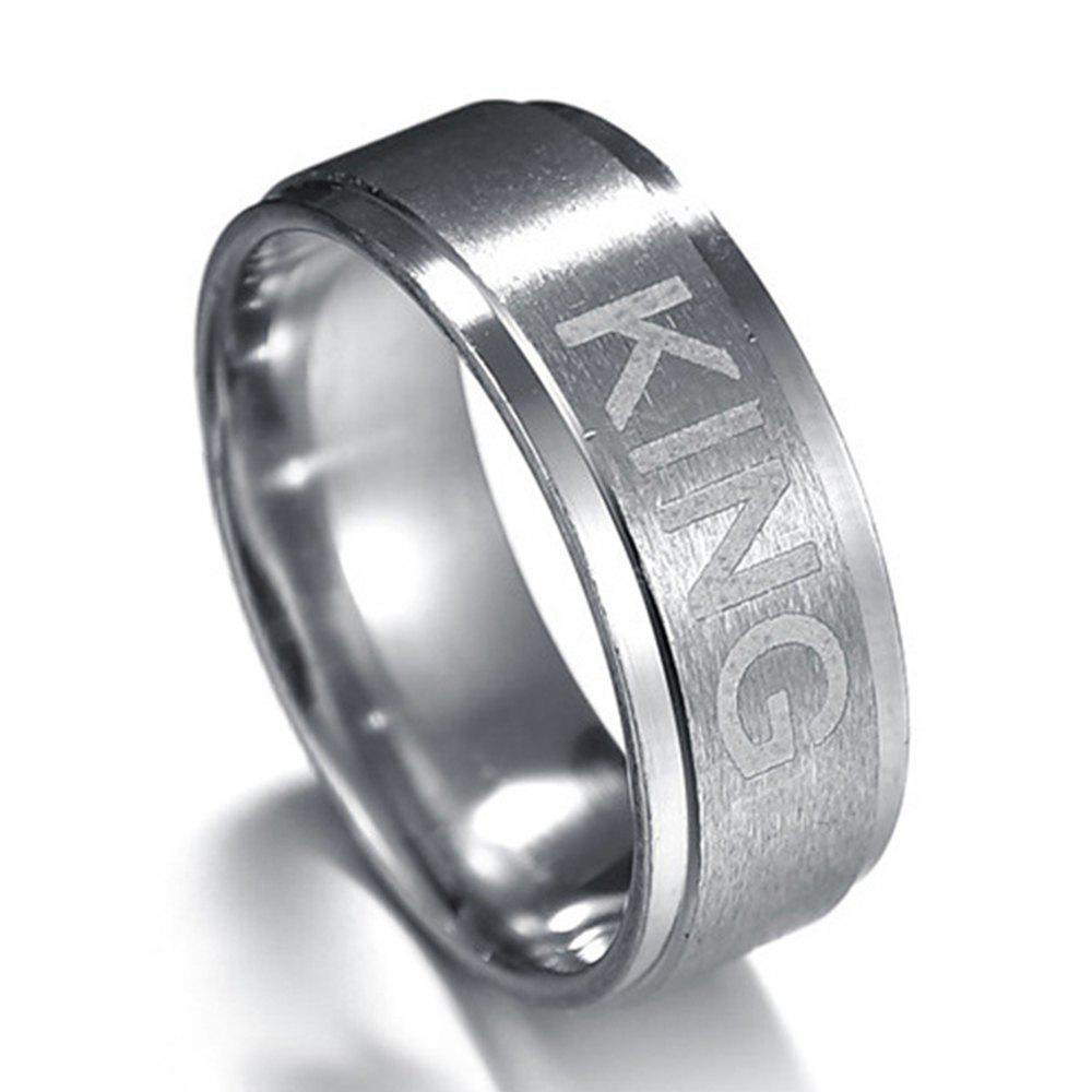 King and Queen Couple Titanium Steel Ring Crown Jewelry - SILVER 9