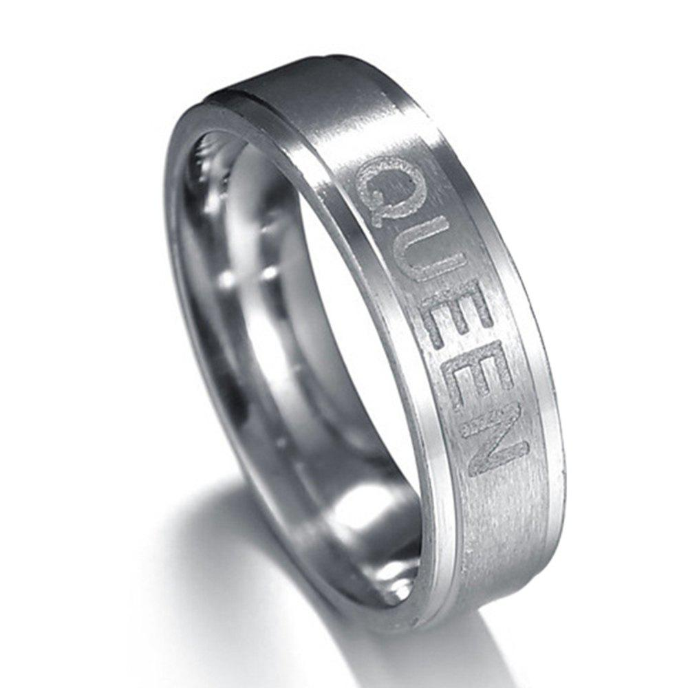 King and Queen Couple Titanium Steel Ring Crown Jewelry - FROST 8