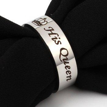 Stainless Steel Couple Her King His Queen Personalized Lettering Titanium Steel Crown Ring - FROST 6