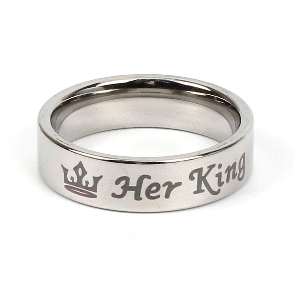 Stainless Steel Couple Her King His Queen Personalized Lettering Titanium Steel Crown Ring - SILVER 12