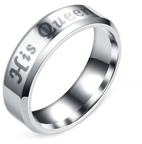Letter King Queen Ring Stainless Steel Couples Titanium Jewelry - SILVER 8