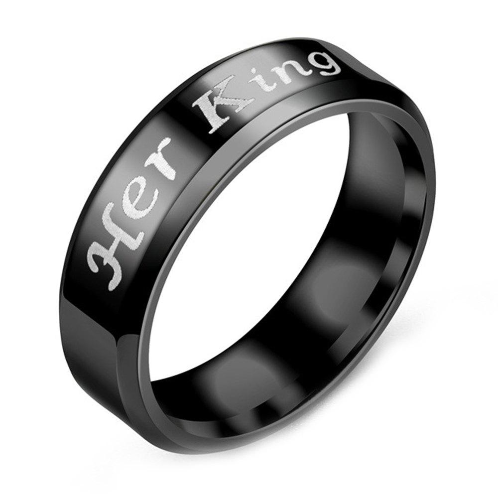 Letter King Queen Ring Stainless Steel Couples Titanium Jewelry - BLACK 12