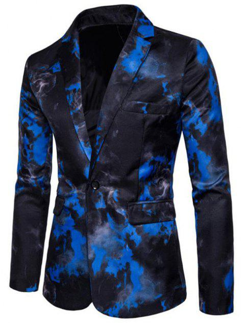 Men's Casual Blazer Turndown Collar Long Sleeve Printed Dress Suit - BLUE 2XL