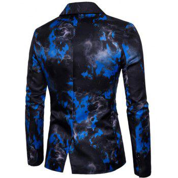 Men's Casual Blazer Turndown Collar Long Sleeve Printed Dress Suit - BLUE L