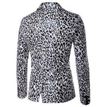 Men's Casual Blazer Leopard Print Turndown Collar Long Sleeve Slim Fit Casual Suit - WHITE XL