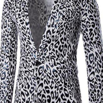 Men's Casual Blazer Leopard Print Turndown Collar Long Sleeve Slim Fit Casual Suit - WHITE 2XL