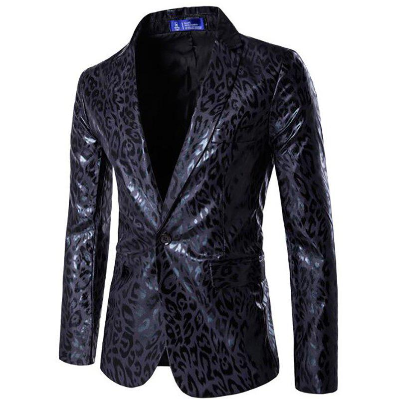 Men's Casual Blazer Leopard Print Turndown Collar Long Sleeve Slim Fit Casual Suit - BLACK L