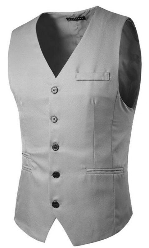 Men's Suit Vest V Neck Regular Fit Waistcoat - LIGHT GRAY XL