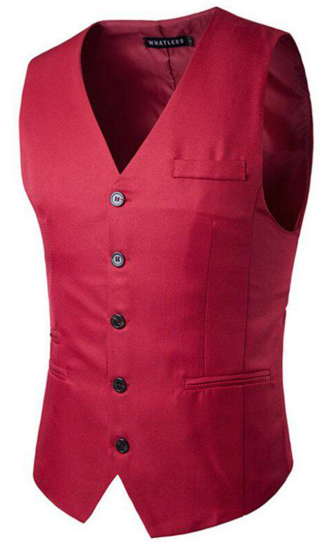 Men's Suit Vest V Neck Regular Fit Waistcoat - RED 2XL