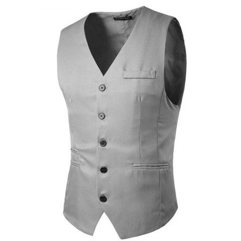 Men's Suit Vest V Neck Regular Fit Waistcoat - LIGHT GRAY L