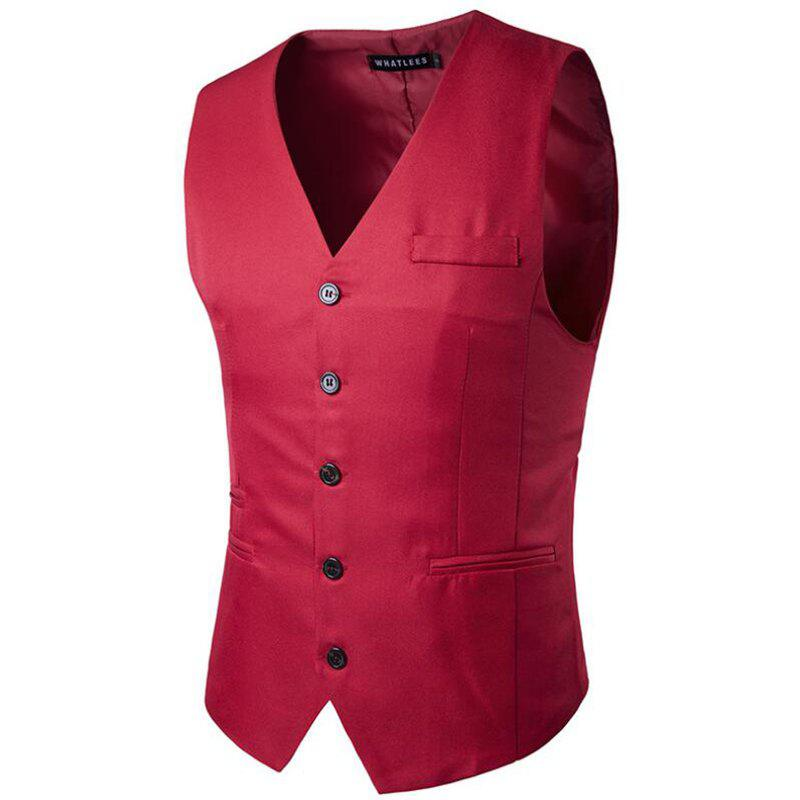 Men's Suit Vest V Neck Regular Fit Waistcoat - RED L
