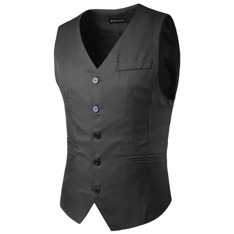 Men's Suit Vest V Neck Regular Fit Waistcoat - DARK GRAY 2XL