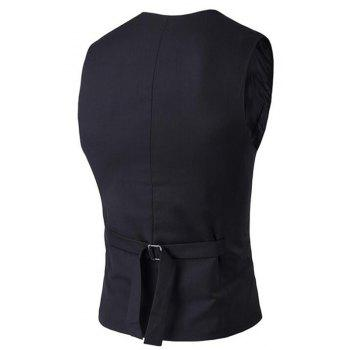 Men's Waistcoat V Neck Regular Fit Formal Vest - BLACK 2XL
