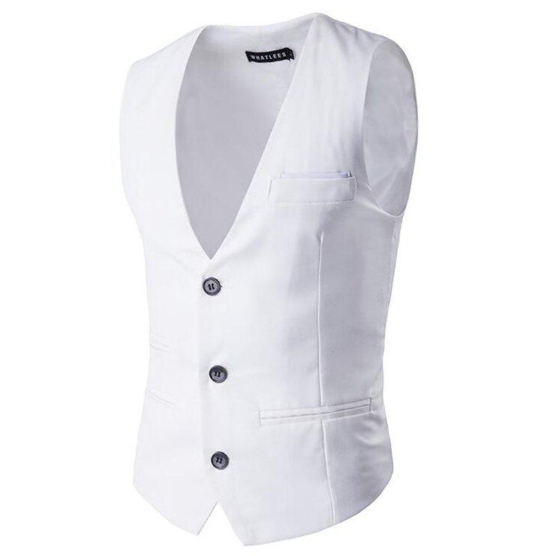 Men's Waistcoat V Neck Regular Fit Formal Vest - WHITE M