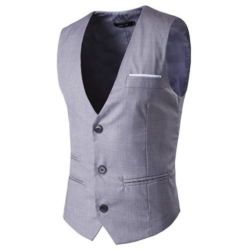 Men's Waistcoat V Neck Regular Fit Formal Vest - GRAY L