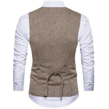 Men's Waistcoat V Neck Business Casual Double Breasted Regular Fit Tuxedo Vest - KHAKI S