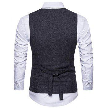 Men's Waistcoat V Neck Business Casual Double Breasted Regular Fit Tuxedo Vest - BLACK 2XL