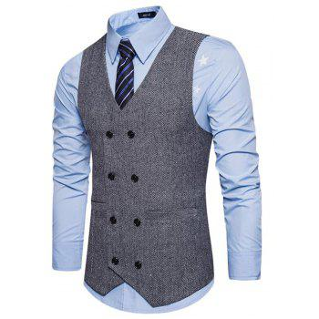 Men's Waistcoat V Neck Business Casual Double Breasted Regular Fit Tuxedo Vest - GRAY S