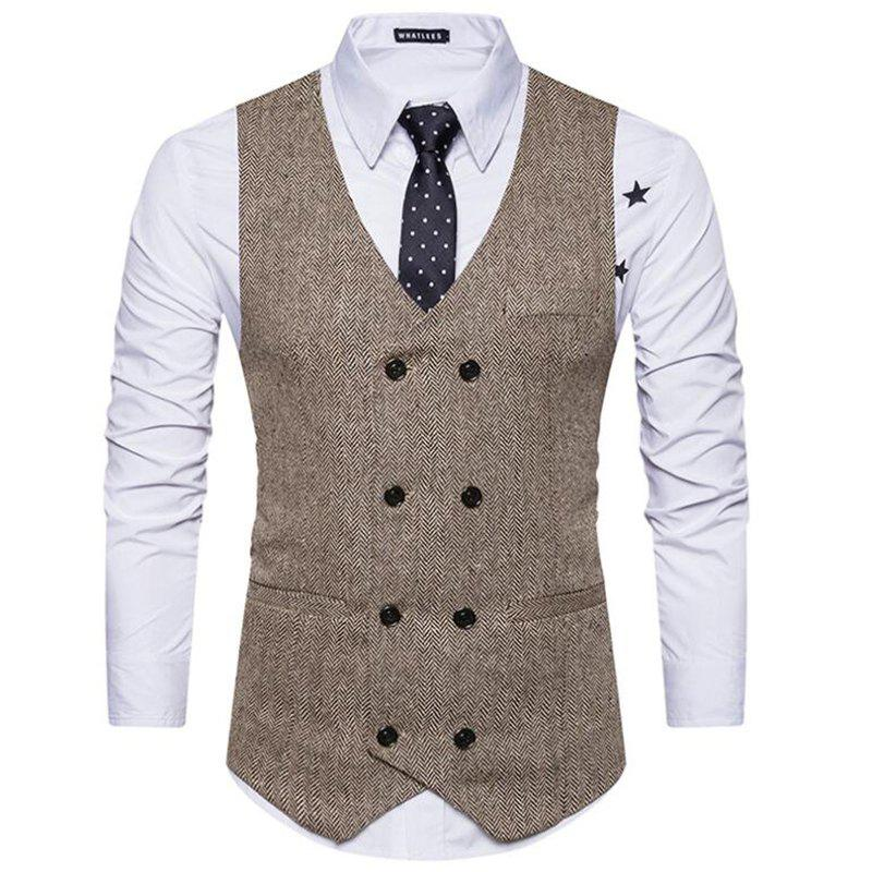 Men's Waistcoat V Neck Business Casual Double Breasted Regular Fit Tuxedo Vest - KHAKI L