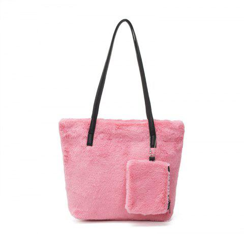 Two-piece Female Plush Shoulder Bag Handbag - PINK