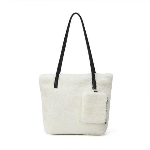 Two-piece Female Plush Shoulder Bag Handbag - WHITE