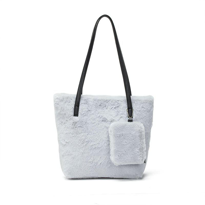 Two-piece Female Plush Shoulder Bag Handbag - GRAY