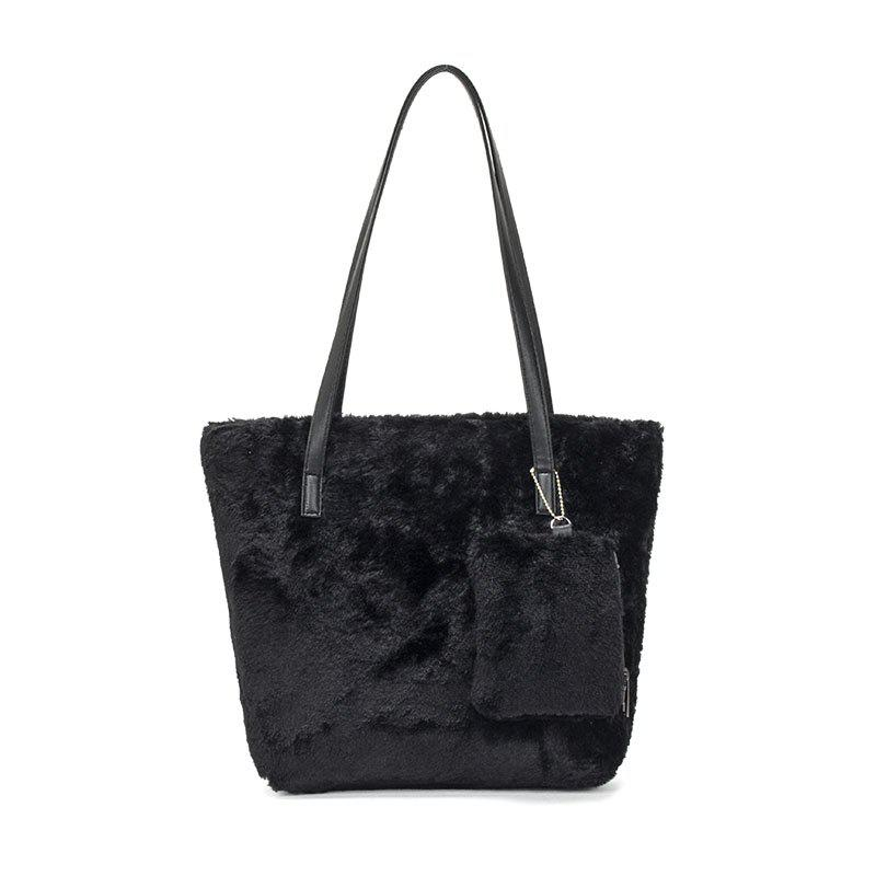 Two-piece Female Plush Shoulder Bag Handbag - BLACK