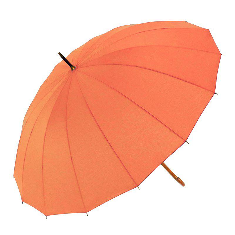 European Windproof Rain Umbrella Large Stick Crook Umbrella for Men and Women - ORANGE 80 X 8 X 2 CM