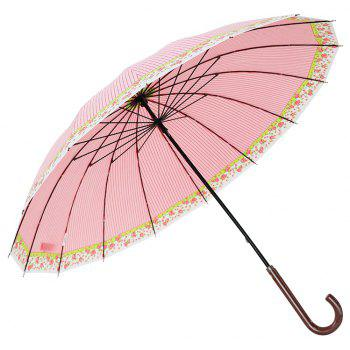 Trendy Floral Stripe Super Windproof Umbrella Wood Travel Brolly Ladies - PINK 83 X 8 X 2 CM