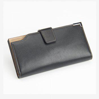 Casual Wallet Zip Fastener Multi-function Card Package for Men Three Fold Purse - BLACK VERTICAL