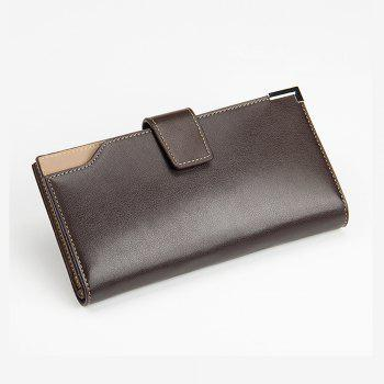 Casual Wallet Zip Fastener Multi-function Card Package for Men Three Fold Purse - BROWN VERTICAL