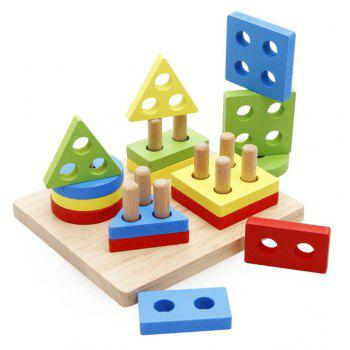 Wooden Educational Preschool Shape Color Recognition Geometric Board Block Stack Sort Chunky Puzzle Toy - COLORMIX