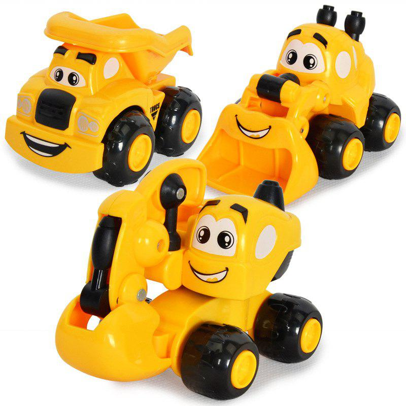 Kawaii Mini Cartoon Engineering Vehicles Inertial Car Excavator Sand Truck for Children 3PCS - YELLOW