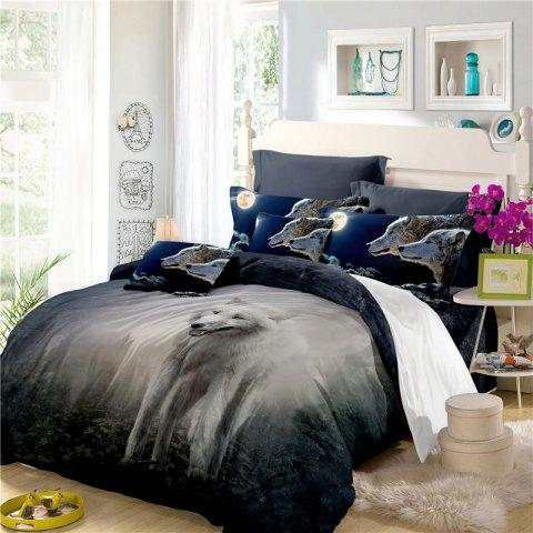 Moonlight Wolf Series Embroidery Three or FourPieces Beddings Set AS19 - FROST SINGLE