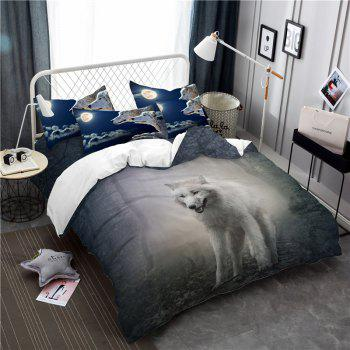 Moonlight Wolf Series Embroidery Three or FourPieces Beddings Set AS19 - FROST CALIFORNIA KING